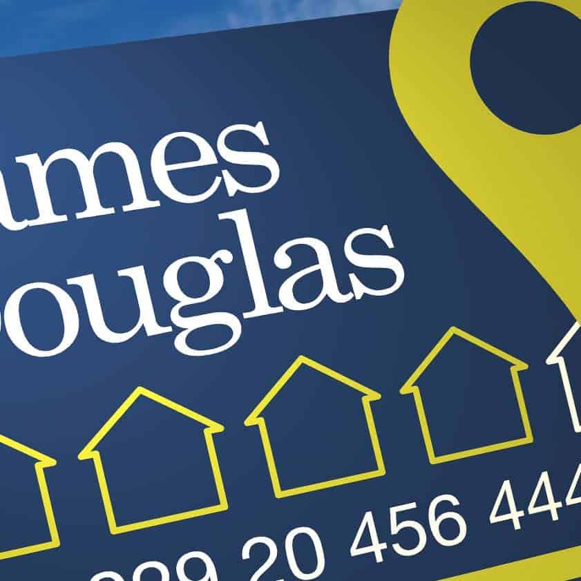James Douglas Estate Agents logo design - sale board detail