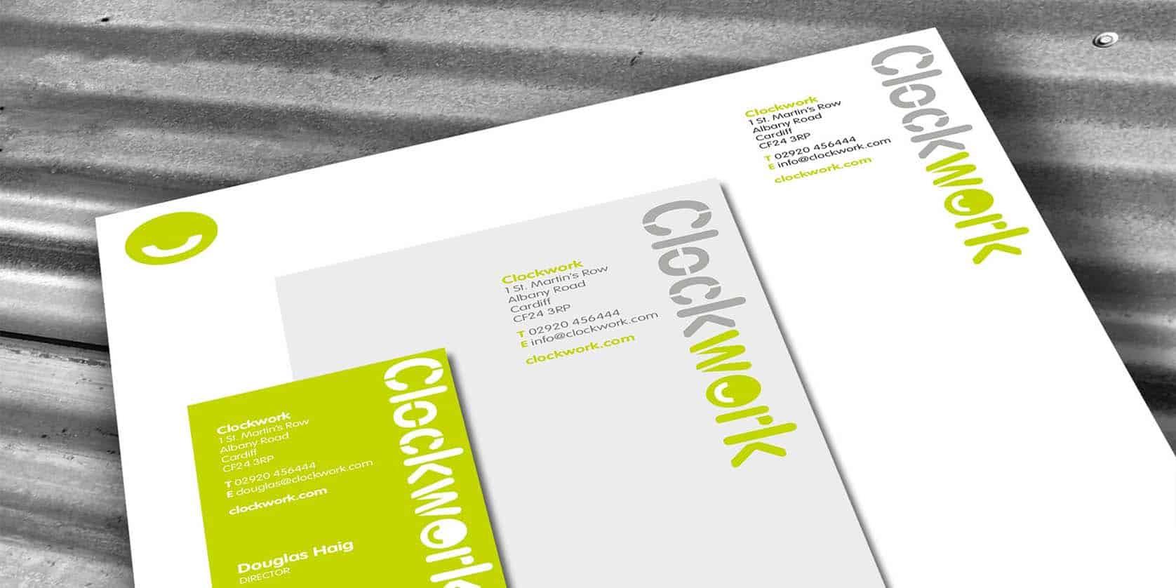 Clockwork Property Management Logo design and stationery set